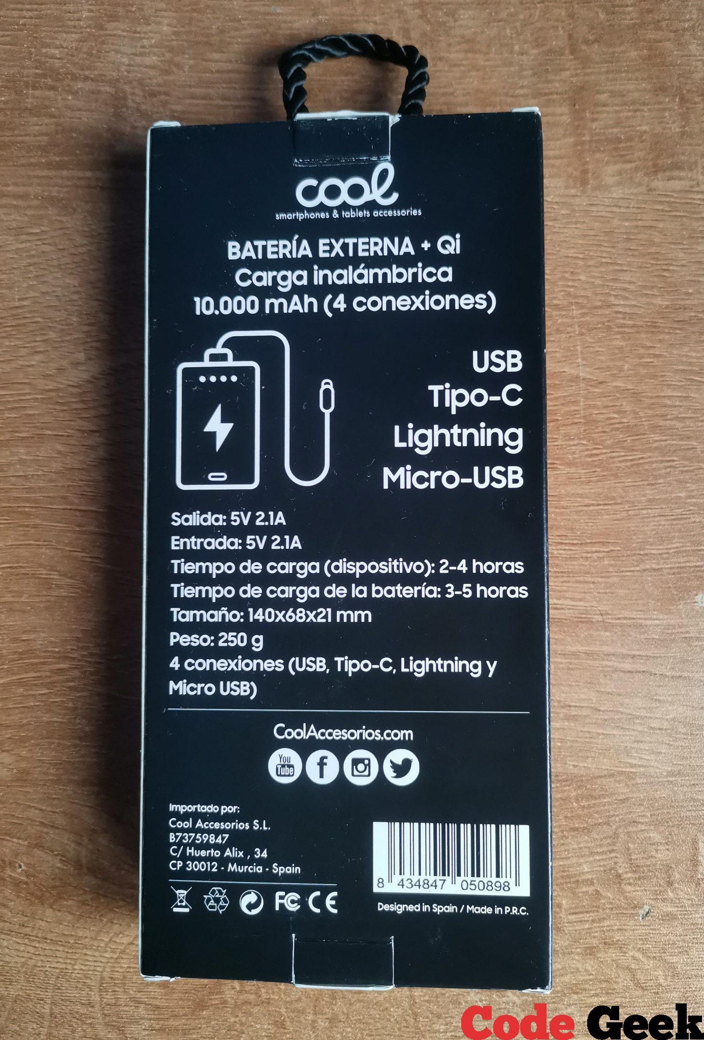 Batería Externa de 10.000 mAh + Qi Carga Inalámbrica (4 conexiones) de COOL Accesorios — Review en Español